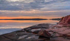 Sunset on Baltic sea. Sunset on the dock of the Baltic Sea finland aland island Stock Photography