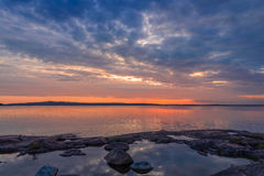 Sunset on Baltic sea. Sunset on the dock of the Baltic Sea finland aland island Stock Image