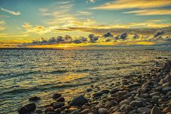 Sunset on the Baltic Sea Stock Photo