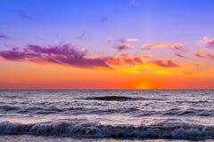 Sunset at Baltic sea in resort Palanga, Lithuania Stock Photography