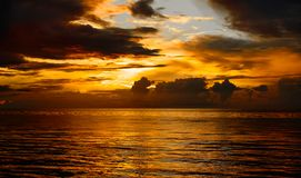 Sunset at baltic sea on warm summer evening royalty free stock photos