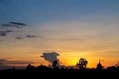 Sunset at Bancheetuan. In Ubonratchatani Royalty Free Stock Image