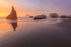 Sunset in Bandon Beach Royalty Free Stock Image