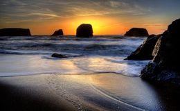 Sunset Bandon Oregon Royalty Free Stock Photos