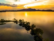 Sunset at Bang Pra reservoir. Beautiful aerial nature view of sunset over Bang Pra reservoir, Chonburi province, Thailand stock photography