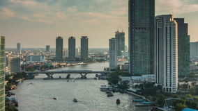 Sunset bangkok chao phraya traffic river roof cityscape panorama 4k time lapse thailand stock video footage
