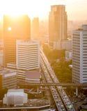 Sunset in the Bangkok city Stock Photos