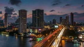 Sunset bangkok city traffic street river roof top panorama 4k time lapse thailand stock footage