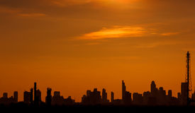 Sunset in the bangkok city Stock Images