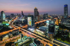 Sunset in Bangkok. Expressway and Highway Royalty Free Stock Images