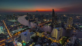 Sunset bangkok famous hotel roof top river panorama 4k time lapse thailand stock footage
