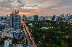Sunset in Bangkok with Lumpini park Royalty Free Stock Photos
