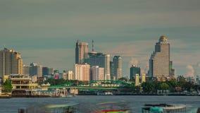 Sunset bangkok main river traffic panorama 4k time lapse thailand stock footage