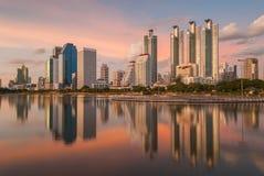 Sunset in Bangkok. With reflection Stock Photo