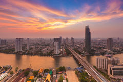 After sunset of Bangkok skylines with Chao Phraya river curve, Bangkok Thailand Royalty Free Stock Images