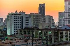 Sunset on Bangkok stock images