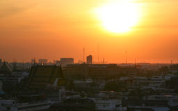 Sunset in Bangkok view point. Sunset over downtown Bangkok, Thailand, South-East Asia Royalty Free Stock Photography