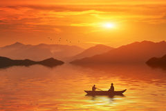 Sunset bangladesh. In the morning a man riding boat in the river of bangladesh stock illustration