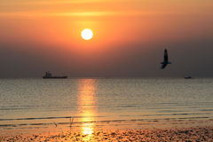 Sunset at Bangpoo beach, Thailand Stock Photography