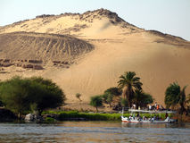 Sunset on the bank of Nile, Aswan, Egypt Stock Images