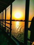 Sunset on the banks of rivers .Shot on Calcutta--River Ganga stock image