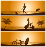 Sunset banner set. Illustration Royalty Free Stock Photo