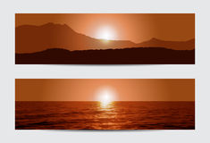 Sunset banners Royalty Free Stock Photos