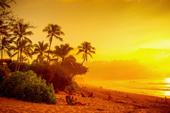 Sunset at Banzai Pipeline Beach Stock Image