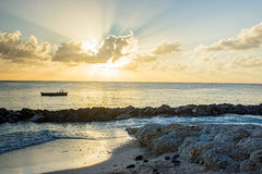 Sunset from the Barbados west coast beach Royalty Free Stock Image