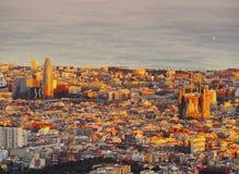 Sunset in Barcelona Stock Photos
