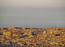 Sunset in Barcelona Stock Photography