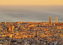 Sunset in Barcelona Stock Images