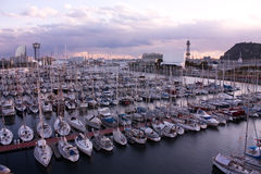 Sunset in Barcelona, port. stock images