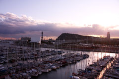 Sunset in Barcelona, port. Stock Photo