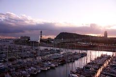 Sunset in Barcelona, port. stock photo