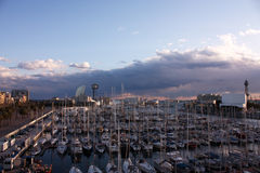Sunset in Barcelona, port. Catalonia, Spain stock photography