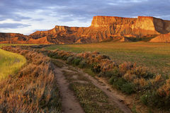Sunset in the Bardenas R, Navarra, Spain Stock Images