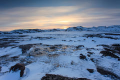 Sunset on the Barents Sea. Teriberka, Murmansk region, Russia Royalty Free Stock Photography