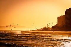 Sunset in Barra da Tijuca Beach Royalty Free Stock Images