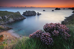 Sunset at Barrika beach Royalty Free Stock Images