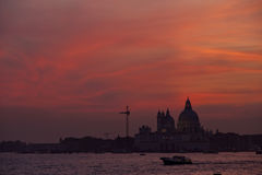 Sunset on the Basilica della Salute Stock Image