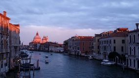 "Sunset on ""Chiesa della Madonna della Salute"", Venice, Italy. Fantastic sunset on Venice City in winter Royalty Free Stock Photography"