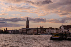 Sunset. Basin of San Marco in Venice, Italy Royalty Free Stock Images