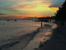 Sunset Bath, Alona Beach, Panglao, Bohol, Philippines Royalty Free Stock Photo