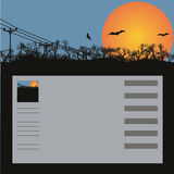 Sunset and bats. Sunset and flying mice - a vector background for a site or the blog Royalty Free Stock Photography