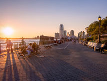 Sunset at Battery Park in New York City Royalty Free Stock Photos