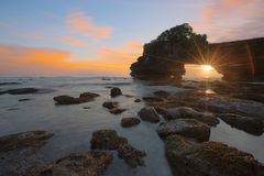 Sunset at Batu Bolong & Tanah Lot - Bali, Indonesia stock image