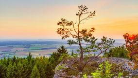 Sunset in Bavaria in the mountains of the Franconian Jura Stock Images