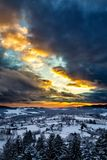 Sunset in the Bavarian Forest Royalty Free Stock Photo