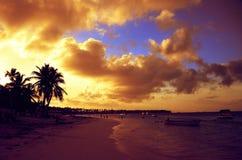 Sunset at Bavaro beach, Punta Cana, Dominican Republic. Dramatic sunset at Bavaro beach, Punta Cana, Dominican Republic Royalty Free Stock Photos